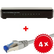 ARP 8-oort Gigabit Switch +4x RJ45 Cable